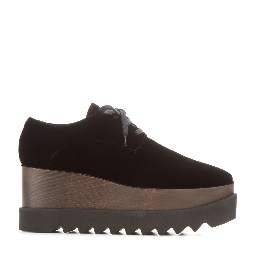 Lyst Stella Mccartney Elyse Velvet Platform Derby Shoes