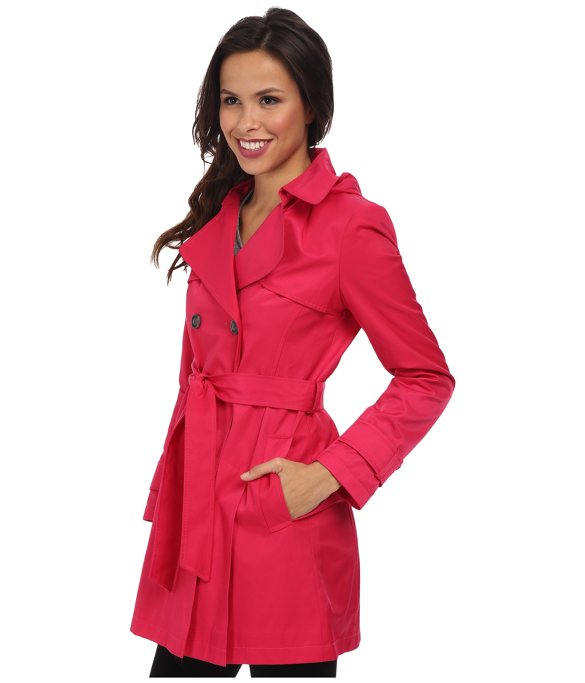 Dkny Double-Breasted Skirted Trench Coat in Red   Lyst