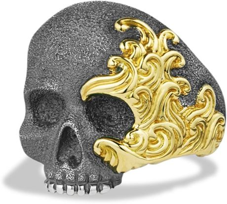 david yurman waves large skull ring with gold in gold for