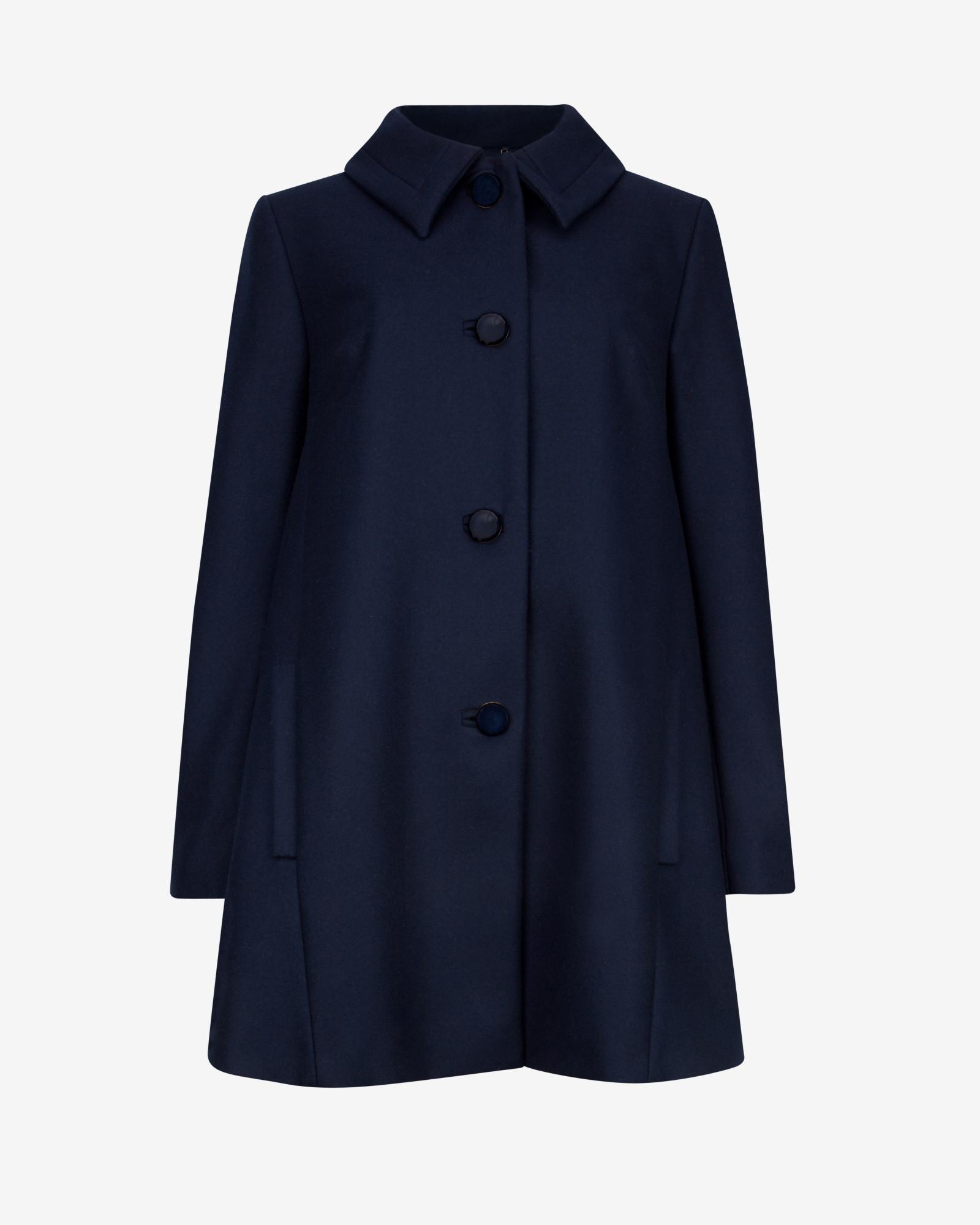 Ted baker Wool Swing Coat in Blue | Lyst