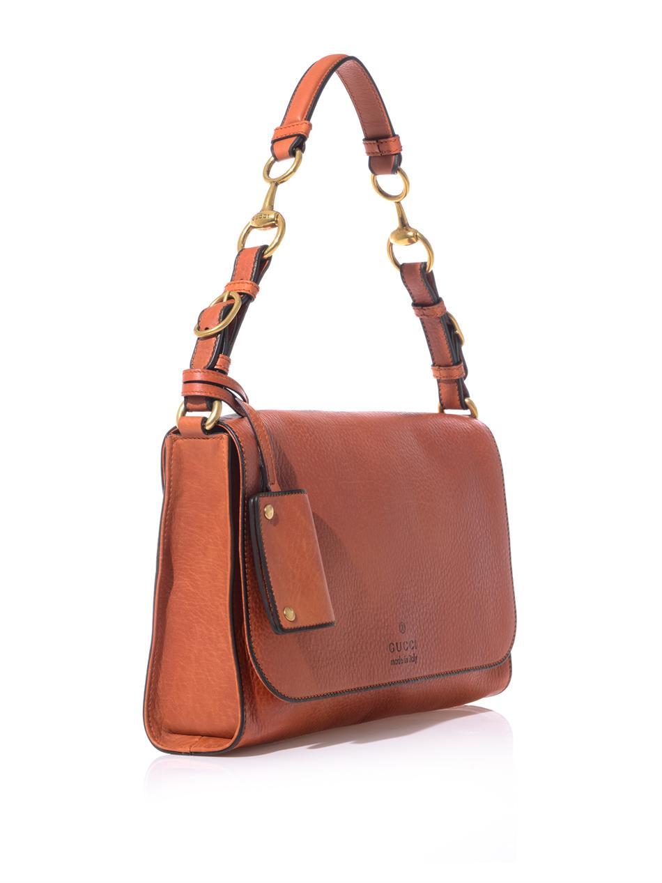 691d76c53de5 Gucci Harness Leather Shoulder Bag in Orange - Lyst