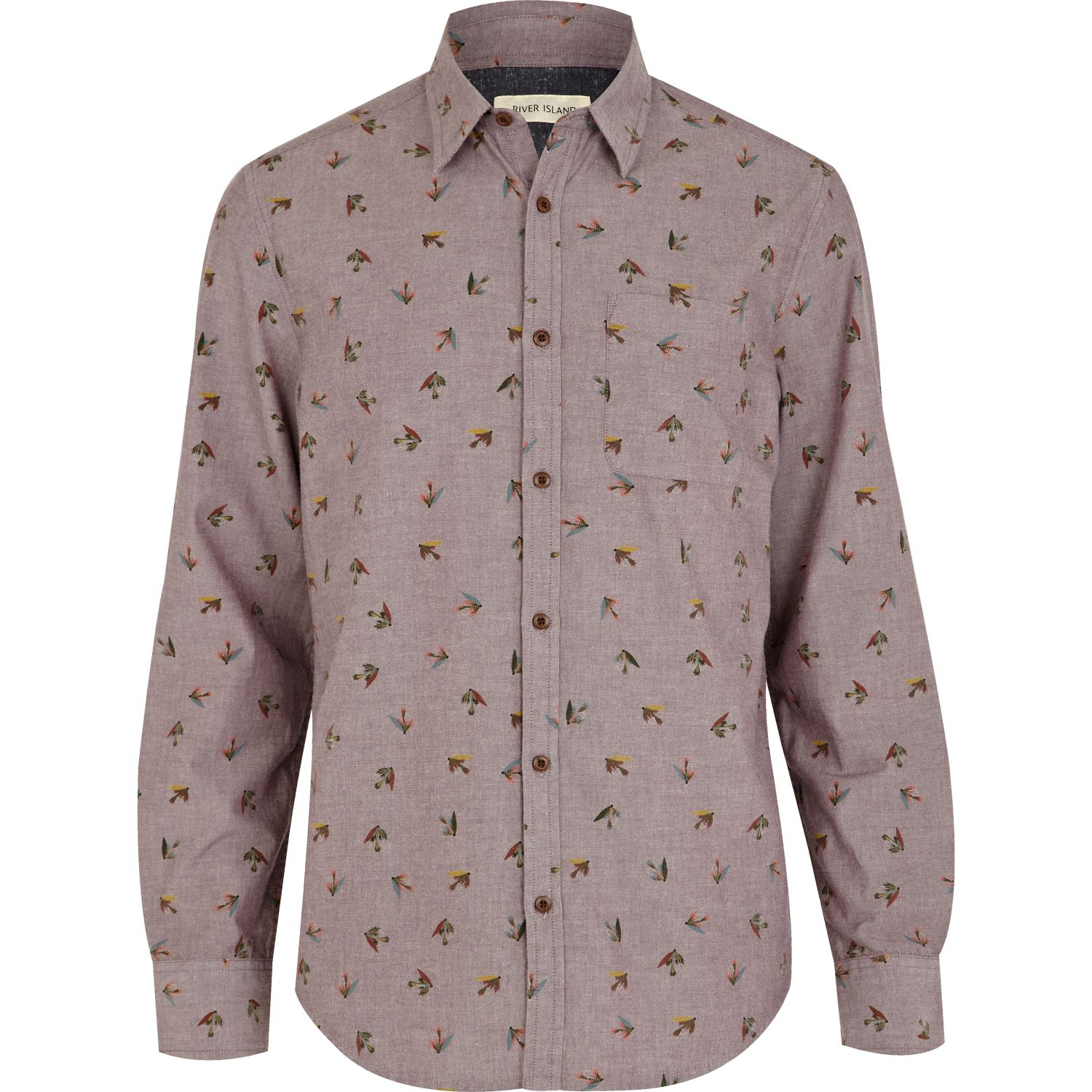 Lyst river island purple fly fish print shirt in red for men for Fish print shirt