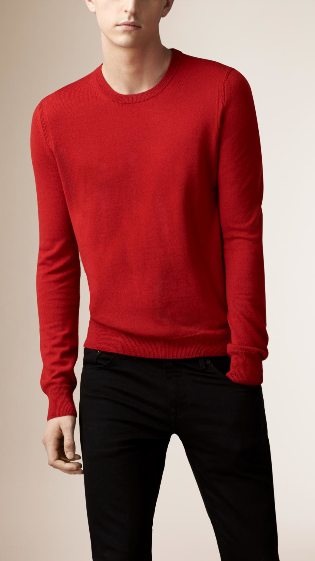Burberry Check Detail Merino Wool Sweater in Red for Men | Lyst