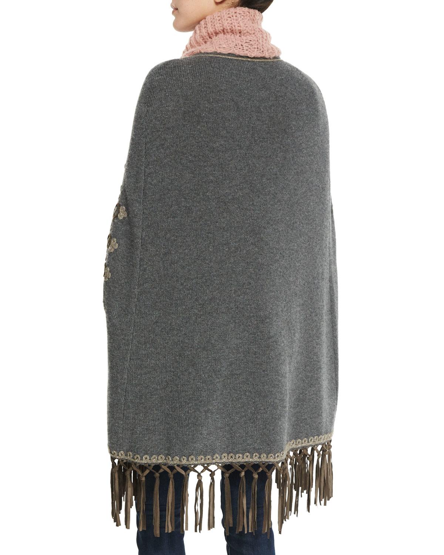 Lyst - Calypso St. Barth Boleda Cashmere Sweater Cape W fringe Trim ... 0f9b74c448fd3