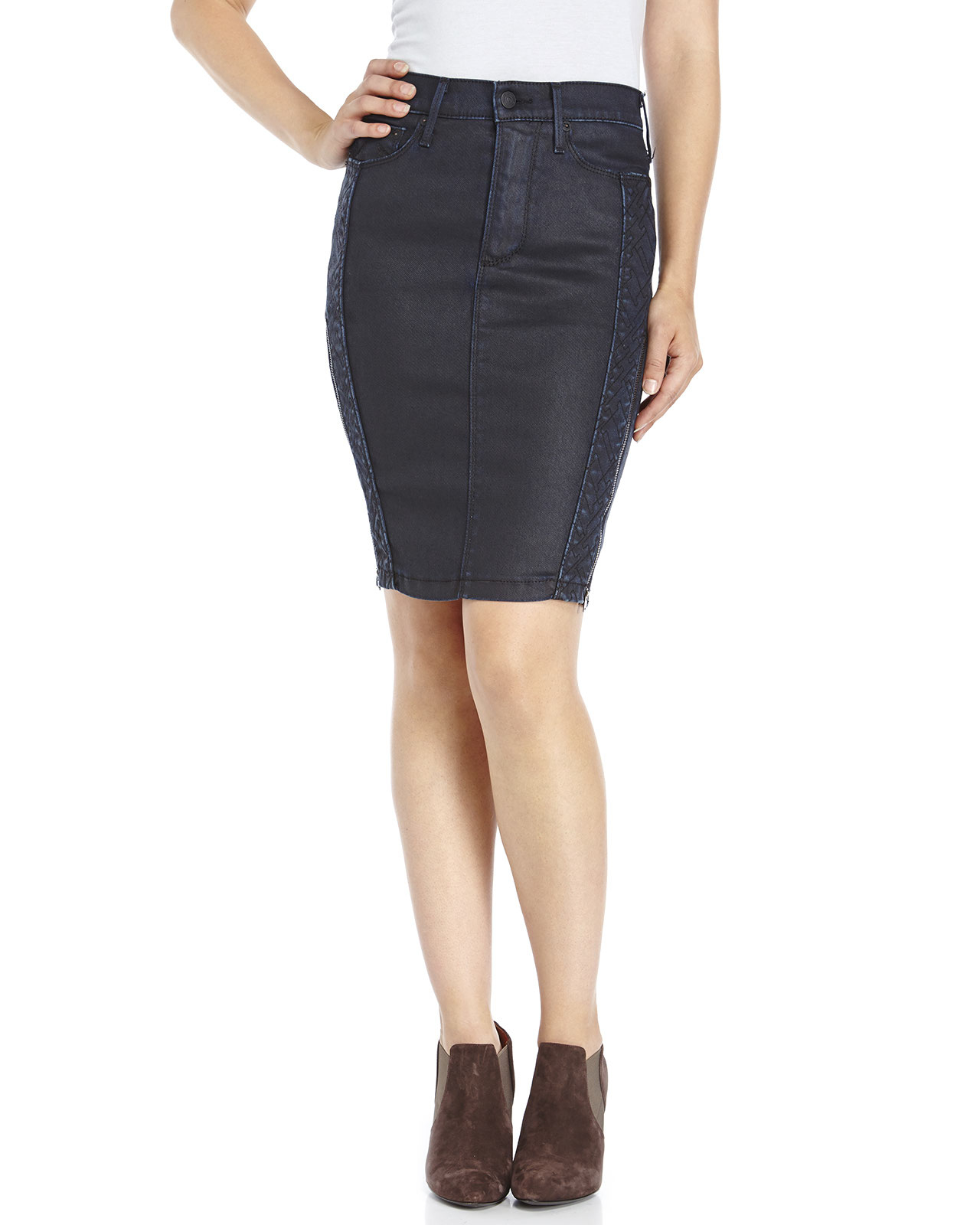 true religion denim pencil skirt in blue lyst