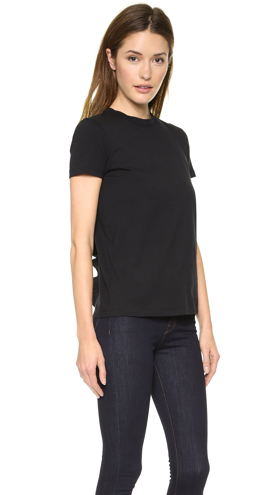 Red Valentino Spring 2016: Red Valentino Ruffle Back Tee Black In Black