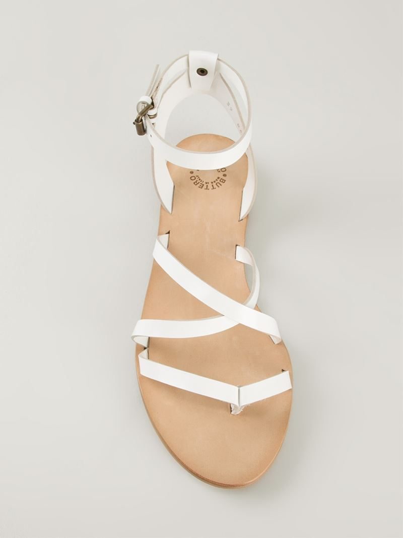 1db483a15a1af Lyst - Buttero Strappy Flat Sandals in White