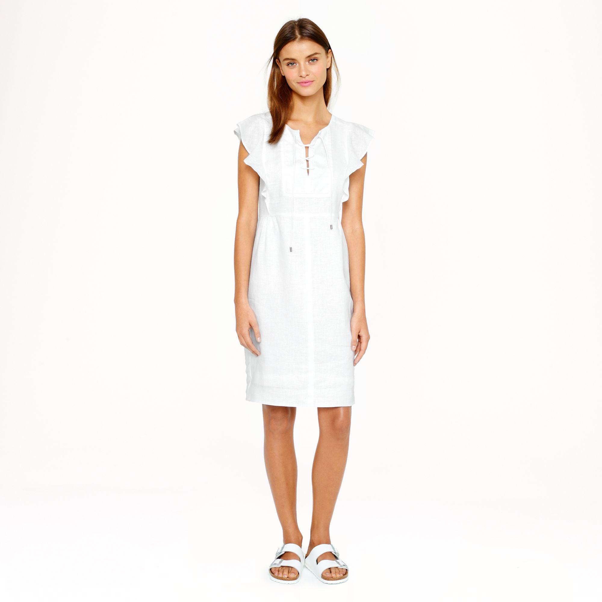 ac30edaebb4 Lyst - J.Crew Laceup Dress in Linen in White