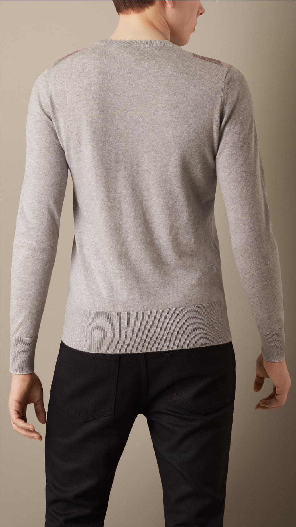 Burberry Check Detail Cotton Cashmere Sweater Pale Grey Melange in ...
