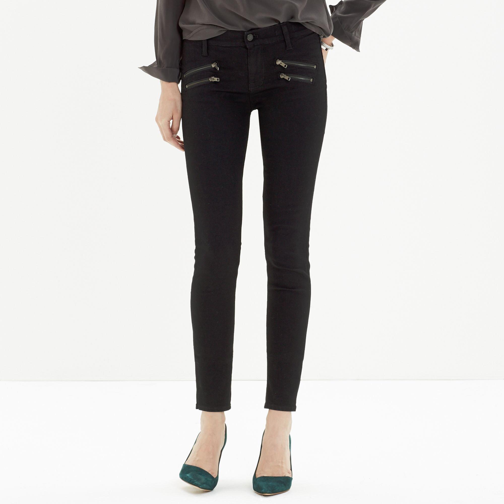 Madewell Skinny Skinny Jeans: Biker-zip Edition in Black | Lyst