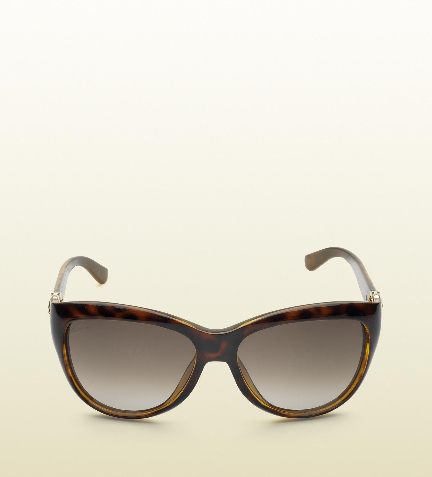 56c6ce7461e Lyst - Gucci Cat-eye Horsebit Optyl Sunglasses in Brown