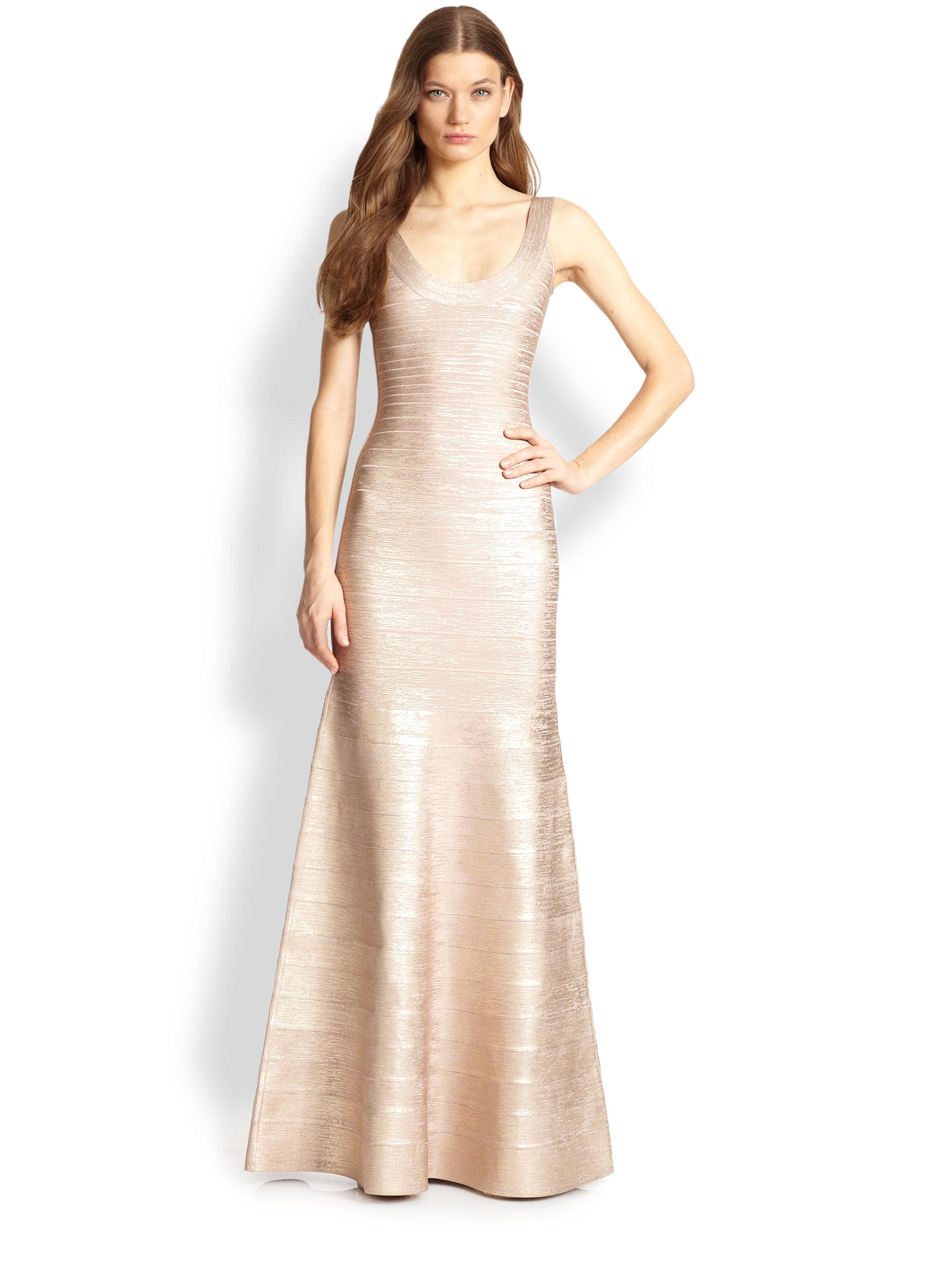 Lyst - Hervé Léger Foilprinted Bandage Gown in Metallic