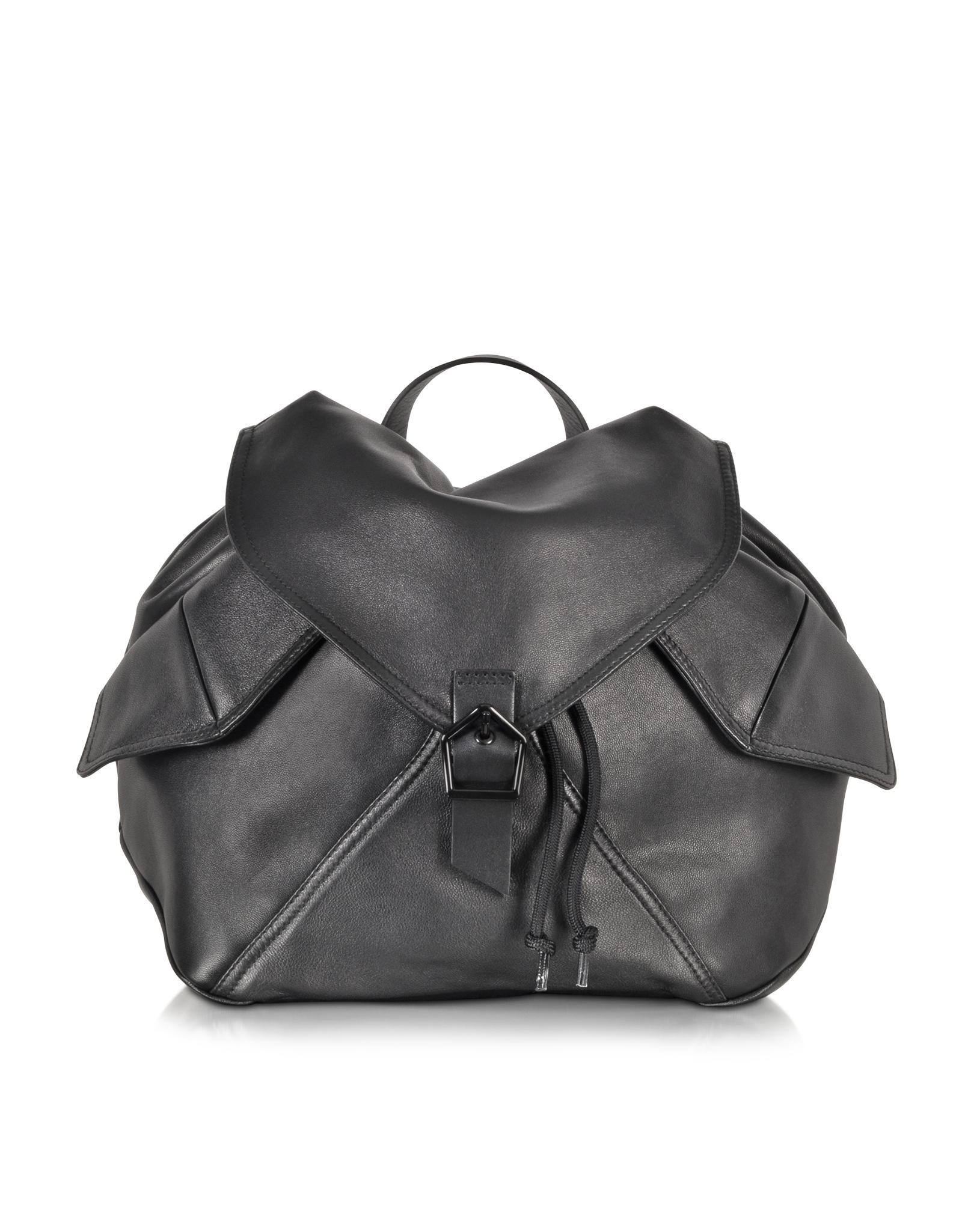 Carven Plain Black Leather Backpack in Black | Lyst