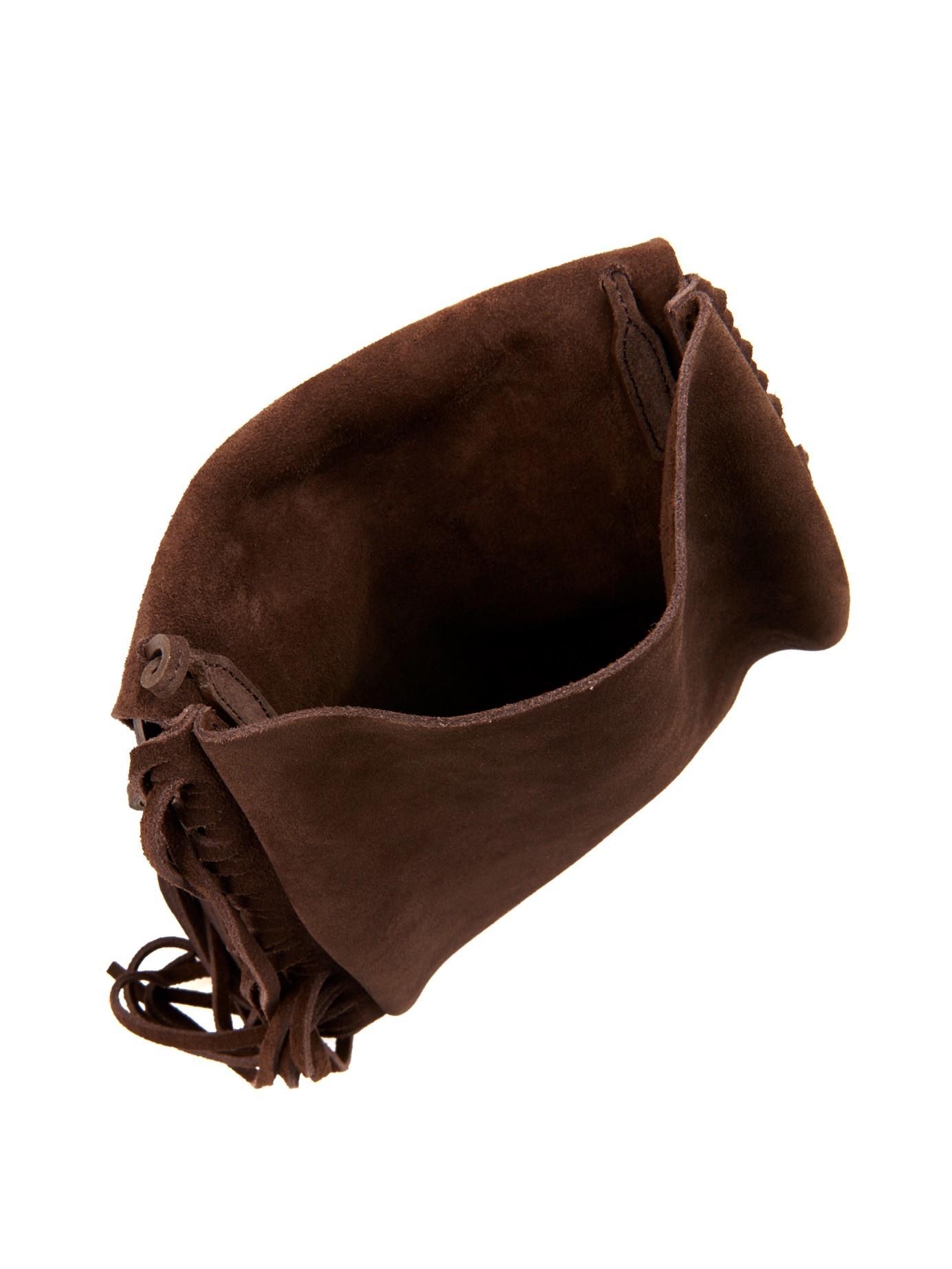 yves saint laurent classic monogram fringed suede shoulder bag