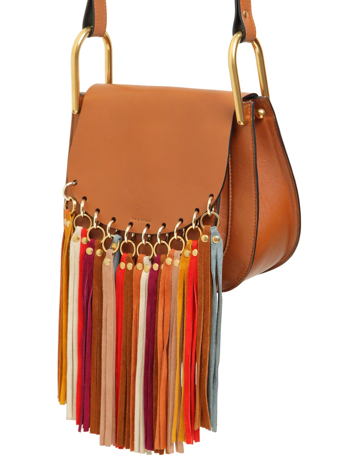 a97e6d96274 Chloé Small Hudson Leather Multicolor Fringes in Brown - Lyst