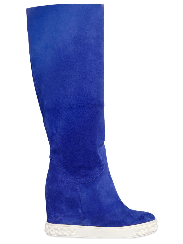 casadei 90mm suede wedge sneakers in blue lyst