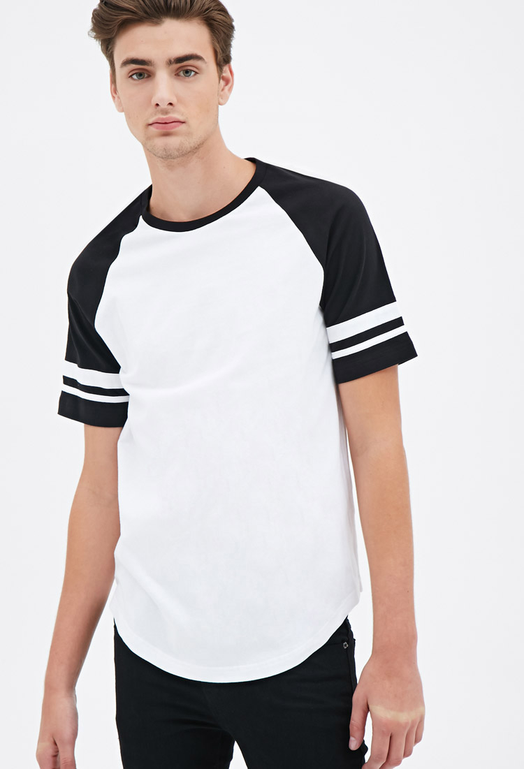 Lyst Forever 21 Varsity Striped Raglan Tee In White For Men
