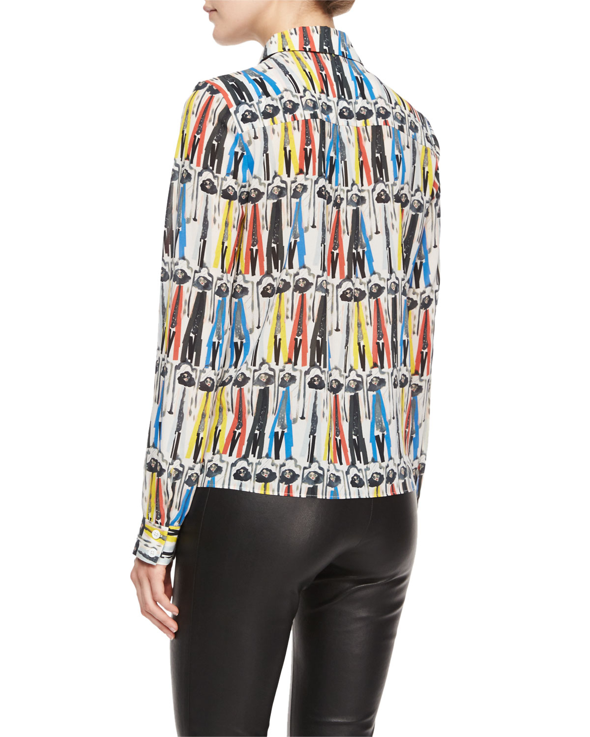 56263199d68006 Lyst - Alice + Olivia Willa Printed Button-Down Blouse