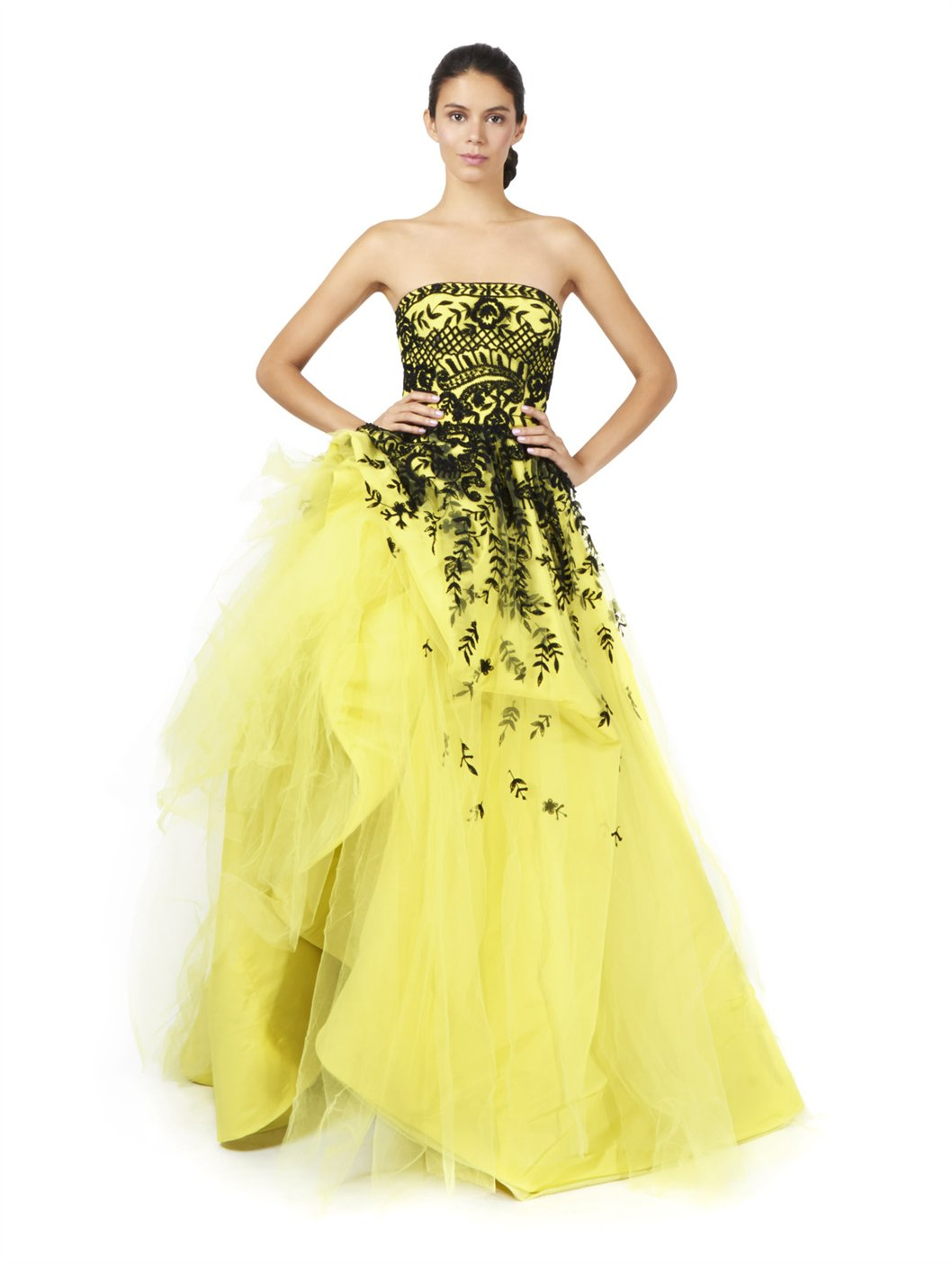 lyst oscar de la renta strapless embroidered ball gown in yellow. Black Bedroom Furniture Sets. Home Design Ideas