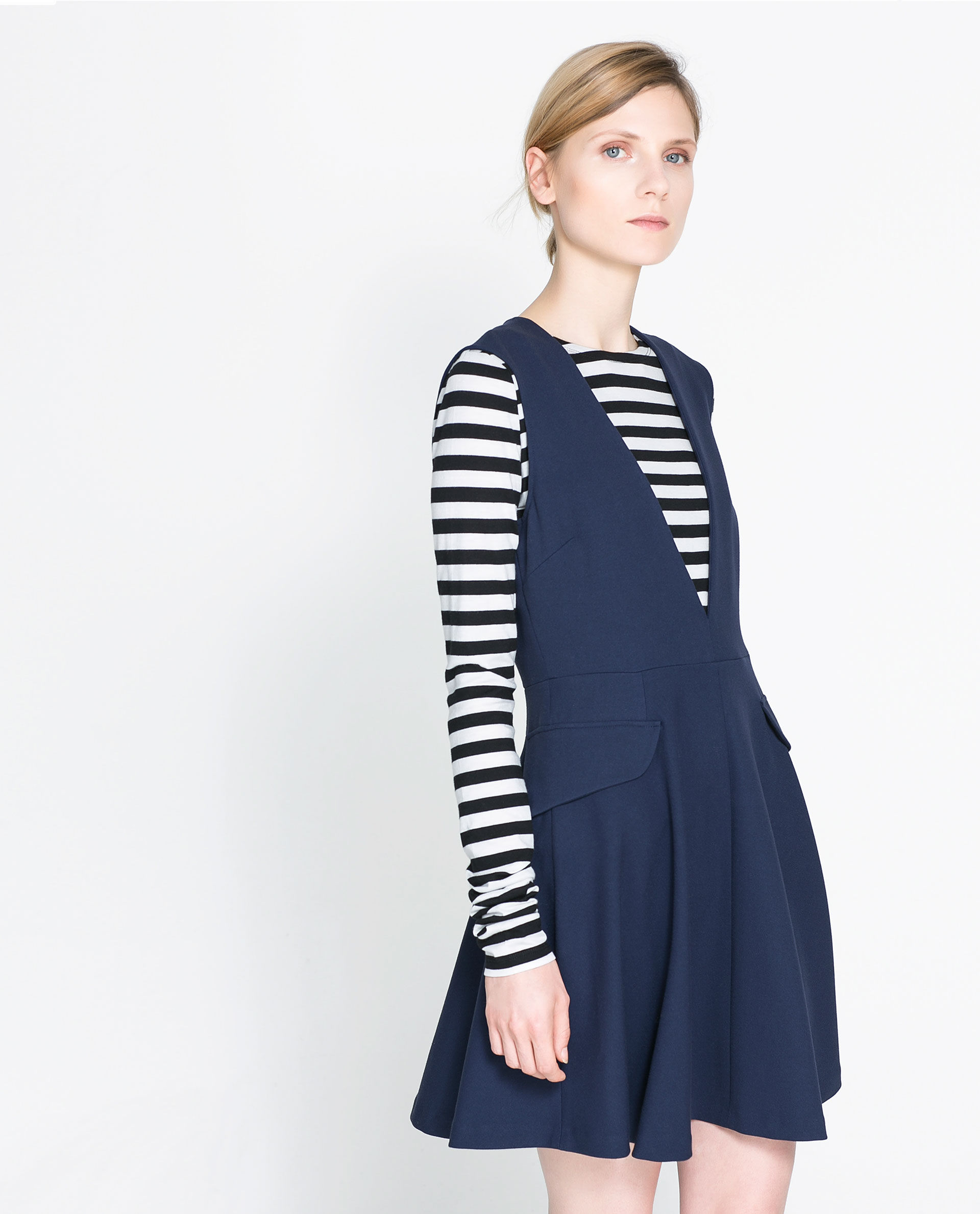 Zara Pinafore Dress In Blue Lyst