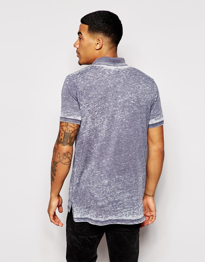 Lyst Asos Longline Polo Shirt In Burnout In Blue For Men