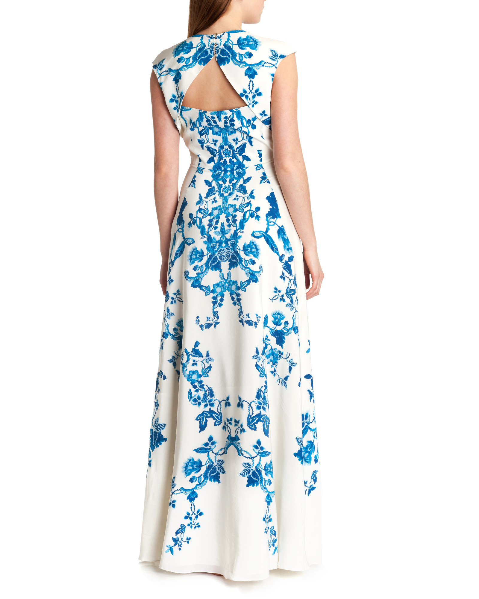 Ted baker China Blue Print Maxi Dress in Blue