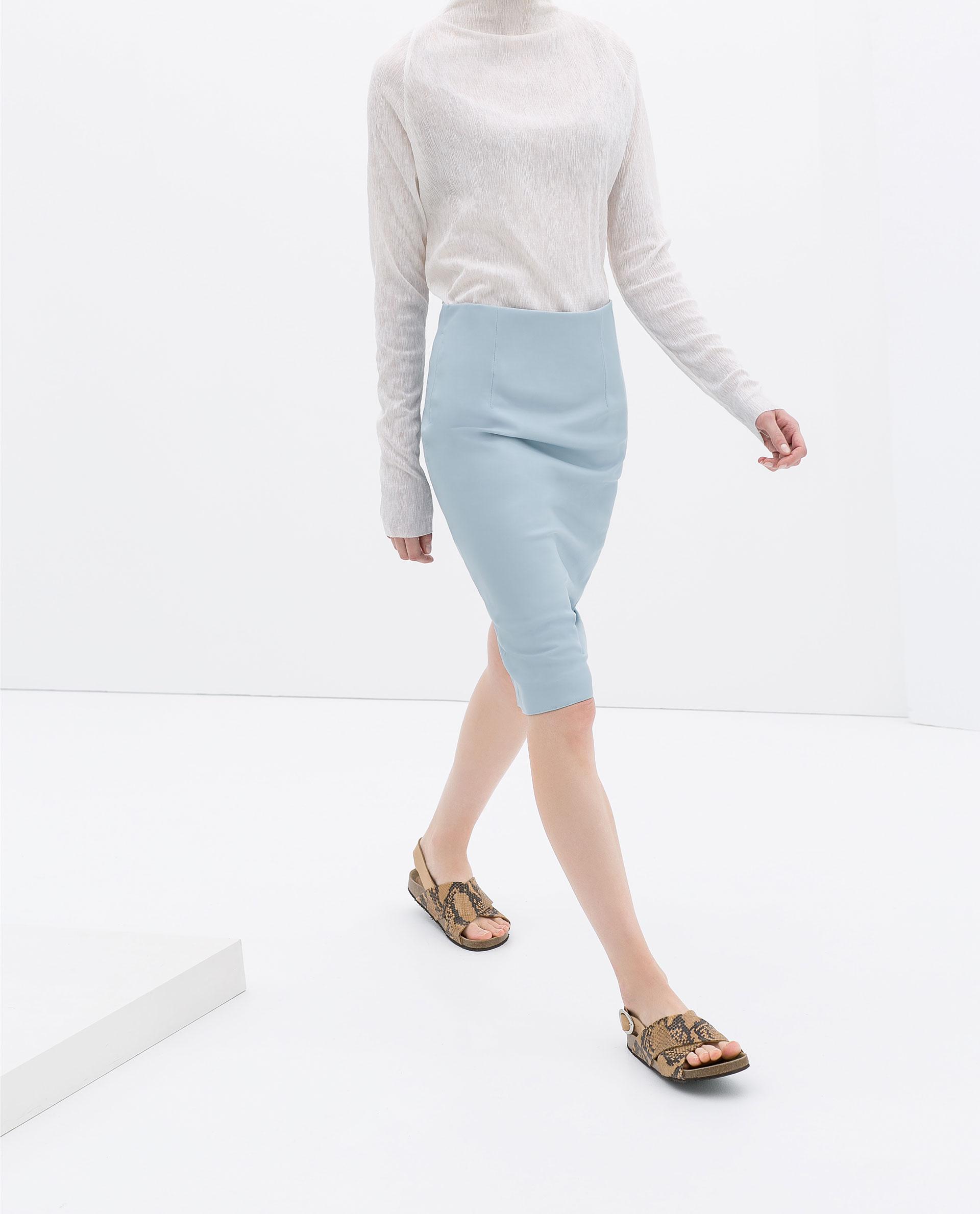 Zara Faux Leather Tube Skirt in Blue | Lyst