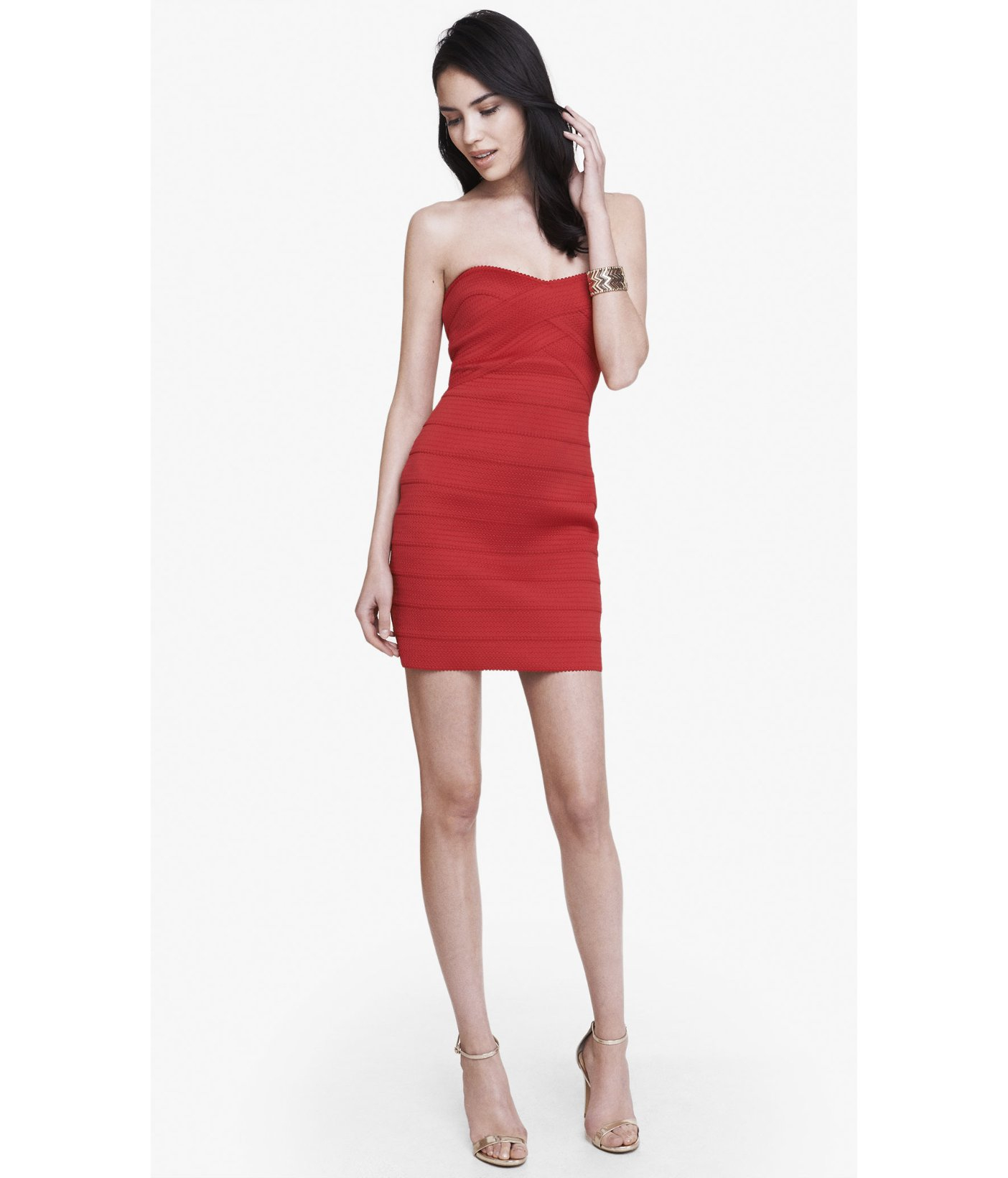 lyst express strapless bandage mini dress in red. Black Bedroom Furniture Sets. Home Design Ideas