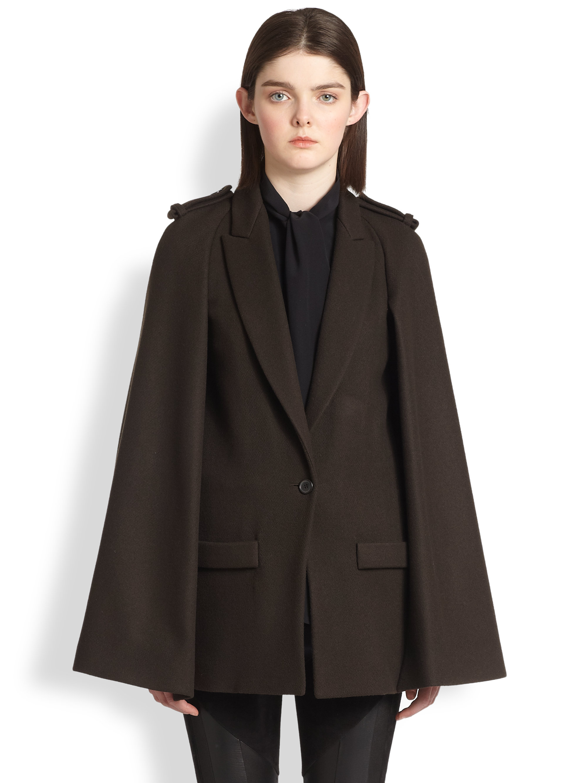 Givenchy Felted Wool Cape Coat in Brown | Lyst