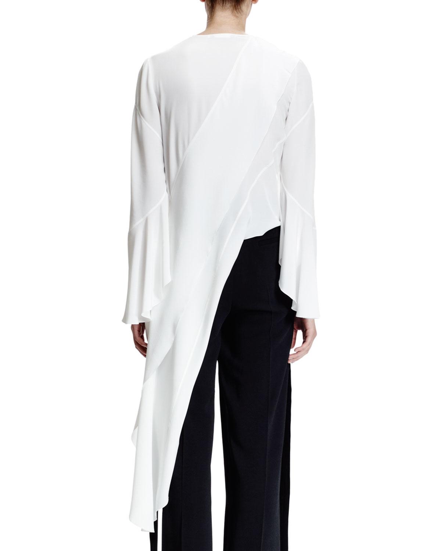 9b66f2cae454 Lyst - Givenchy Long-sleeve Asymmetric Cascade Top in White