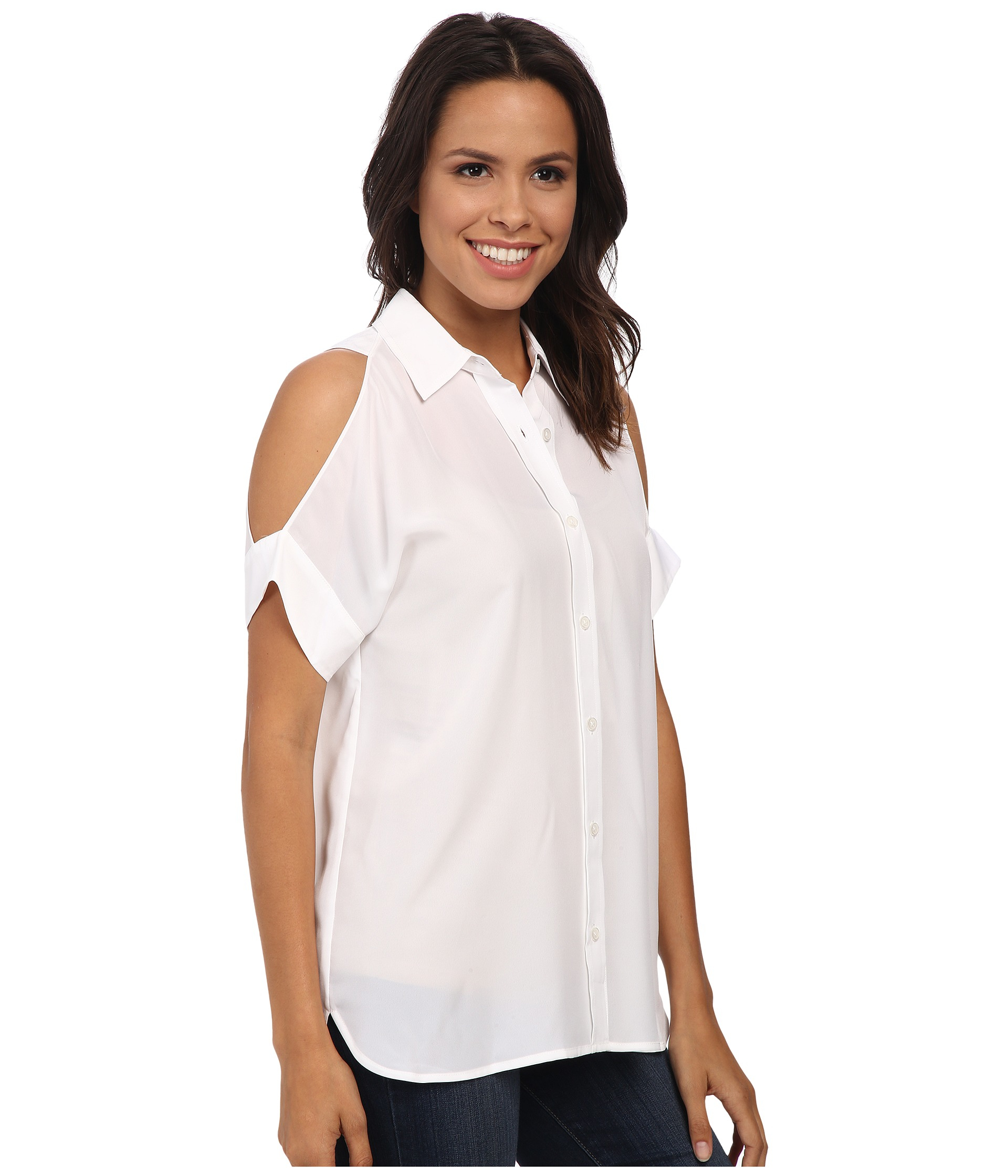 1ff46eac924fb4 Lyst - MICHAEL Michael Kors Cold Shoulder Button Down Top in White