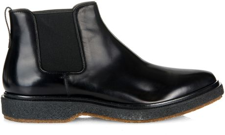 henderson high shine chelsea leather boots in black for