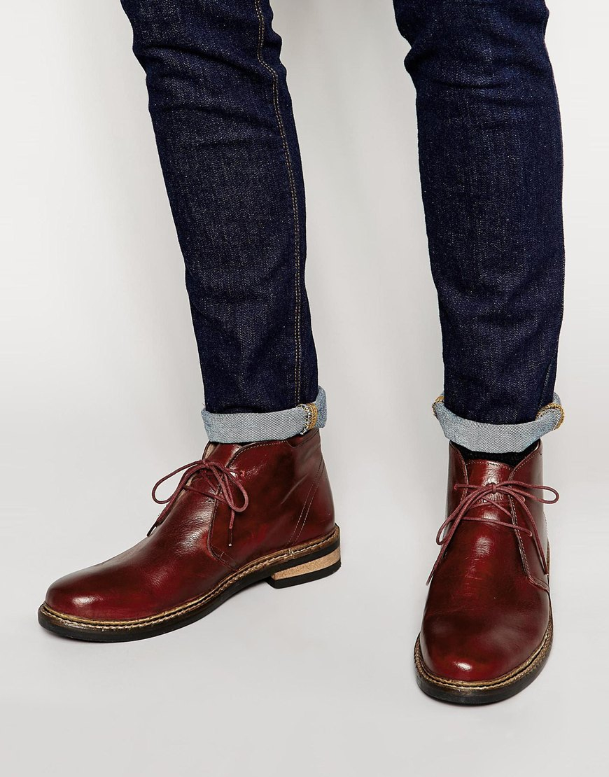 Kg by kurt geiger Godfrey Leather Boots in Red for Men | Lyst