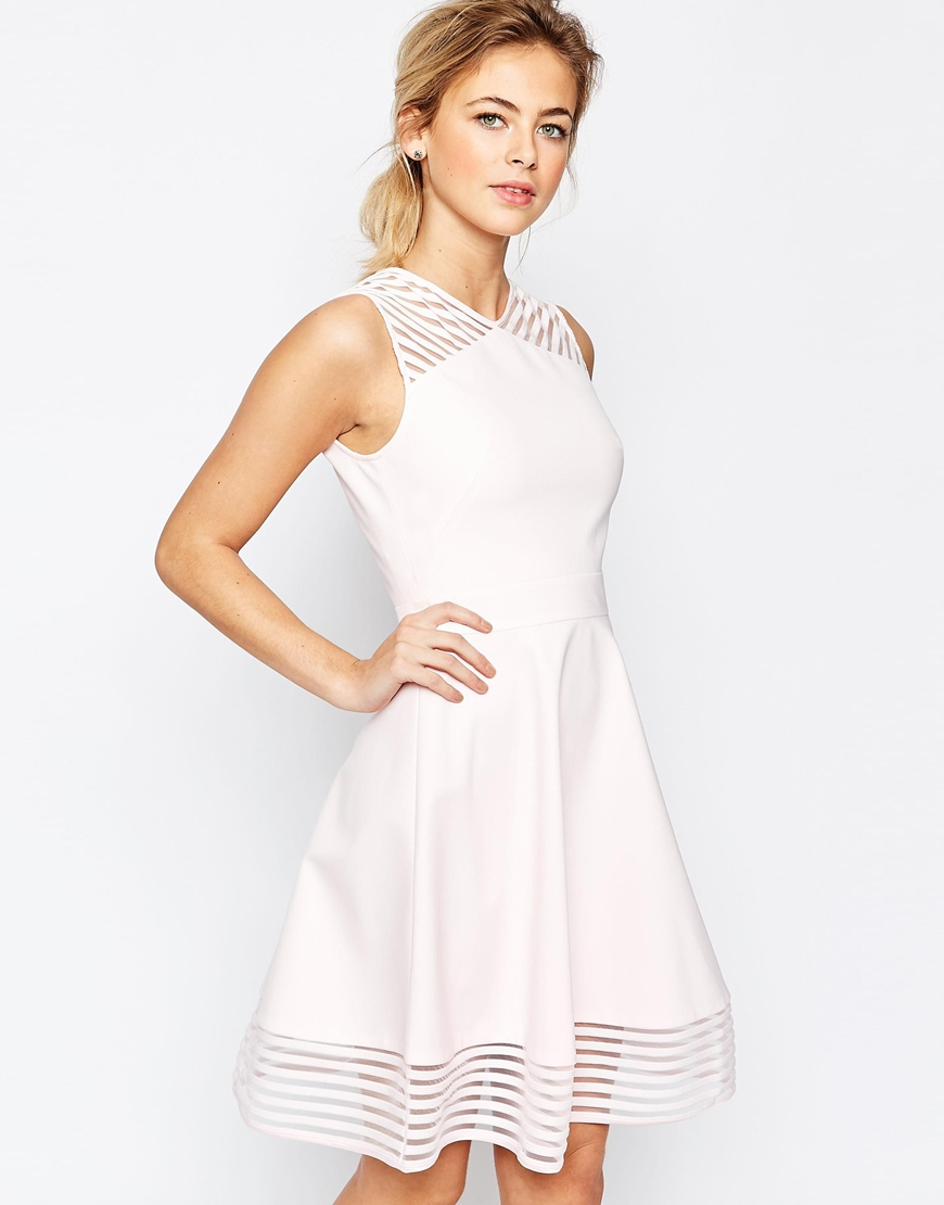 ted baker mesh eleese detail skater dress in pink lyst. Black Bedroom Furniture Sets. Home Design Ideas