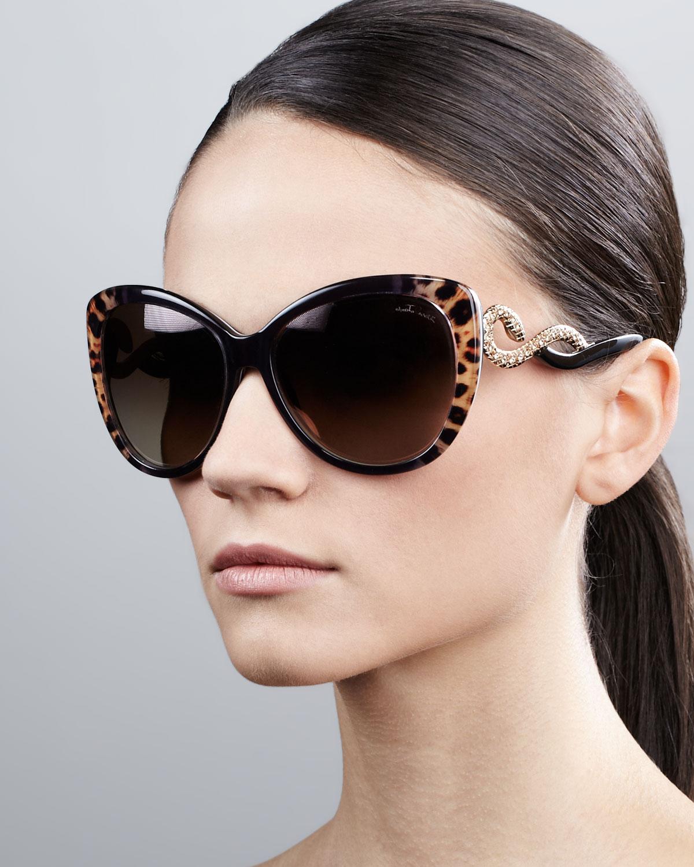 Roberto Cavalli Serpenttemple Oversized Cateye Sunglasses