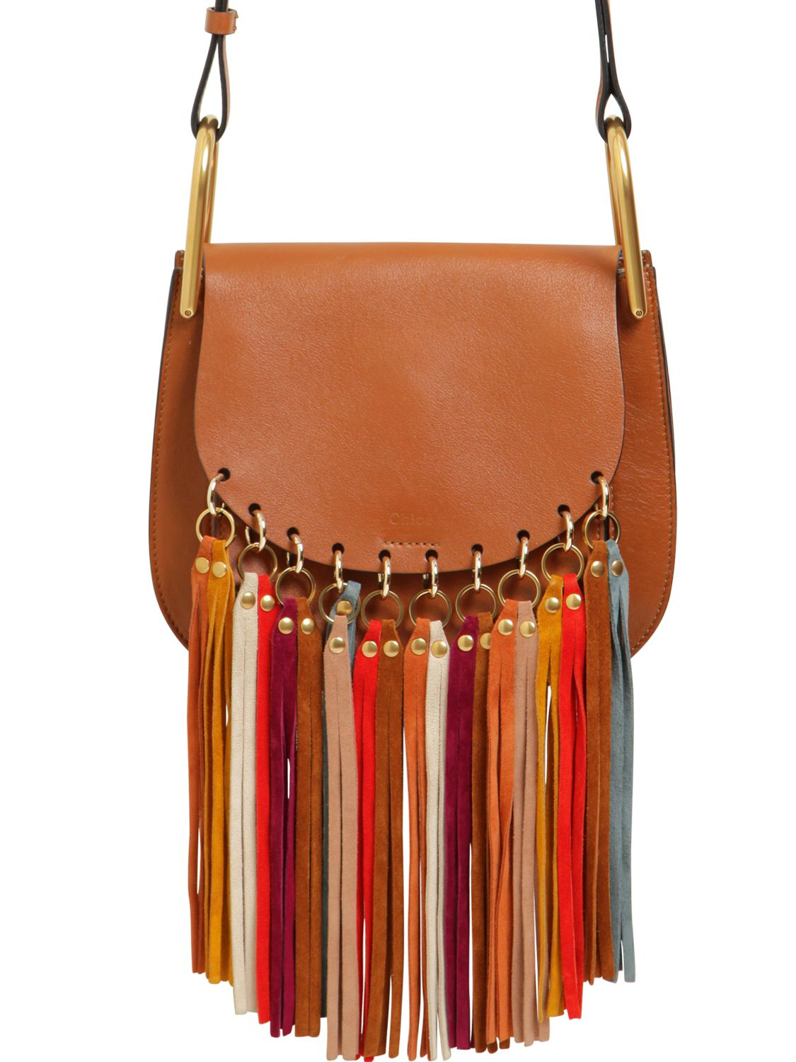 Chlo¨¦ Small Hudson Leather Multicolor Fringes in Brown | Lyst