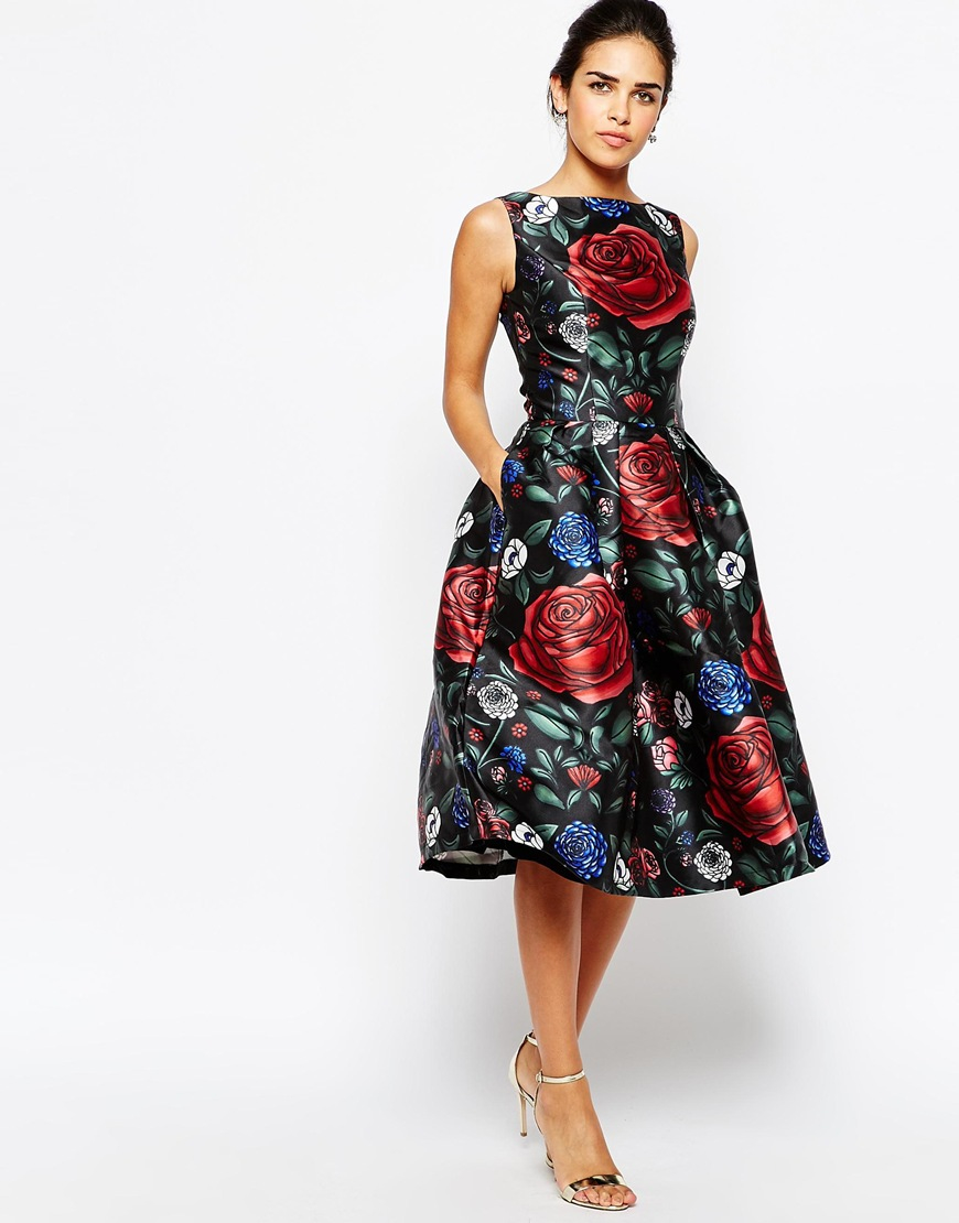 chi chi london prom midi dress in all over floral print in. Black Bedroom Furniture Sets. Home Design Ideas