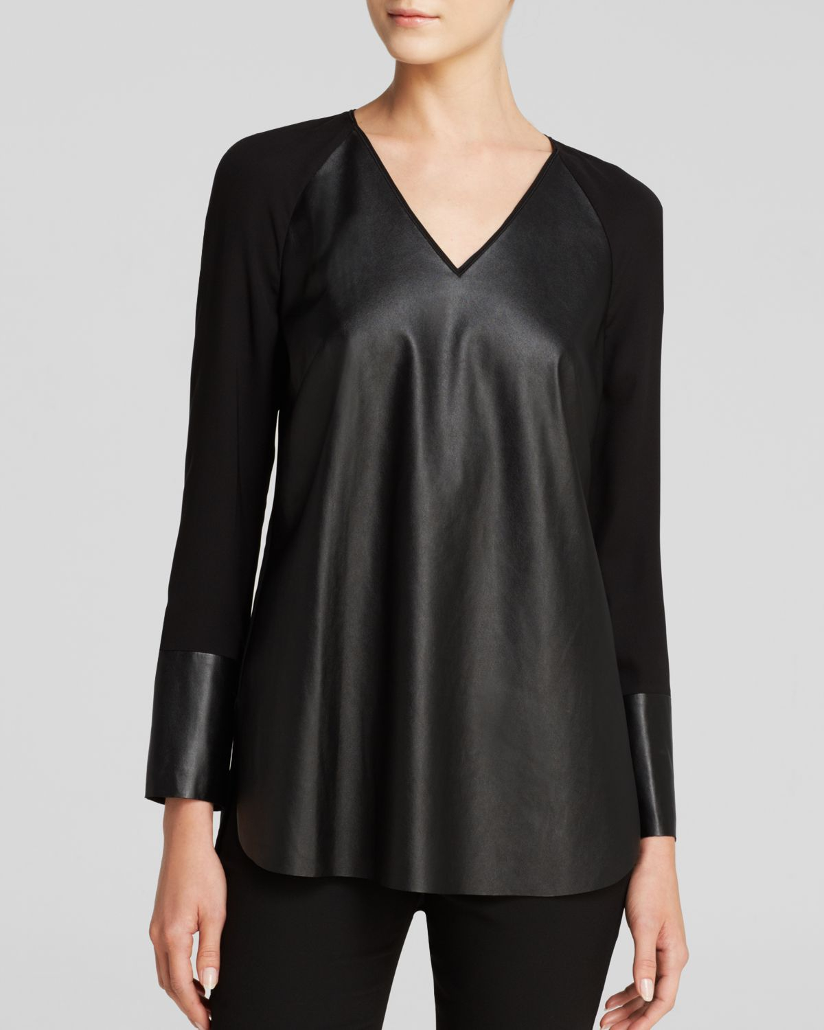 148 Best Images About Craft Ideas For Girls On Pinterest: Lafayette 148 New York Shae Faux Leather Top In Black