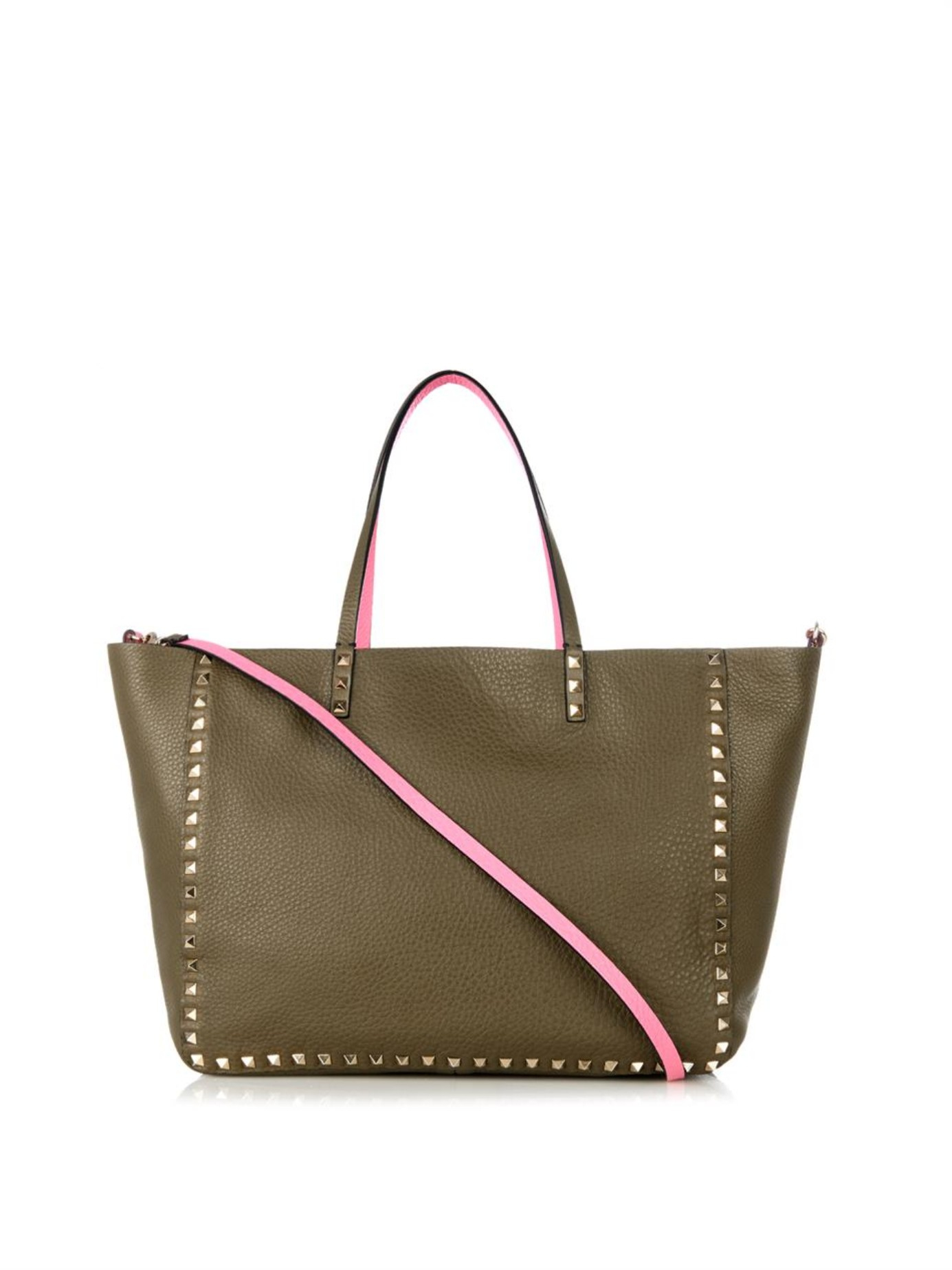 6d0e712bc4 Valentino Rockstud Double Reversible Medium Tote in Green - Lyst