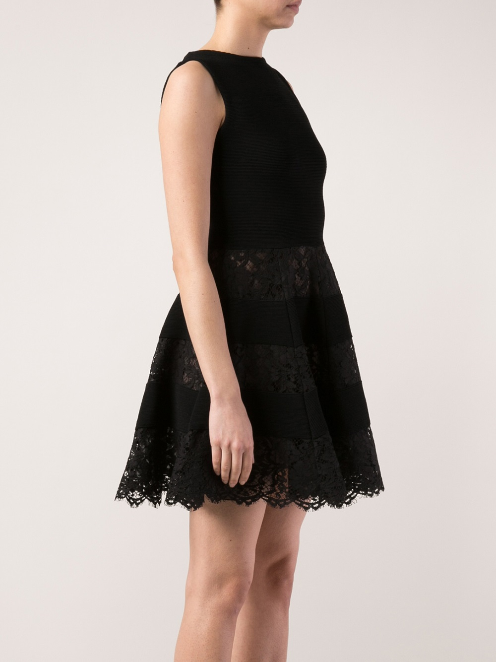 Lyst Valentino Ribbed Lace Skirt Dress In Black