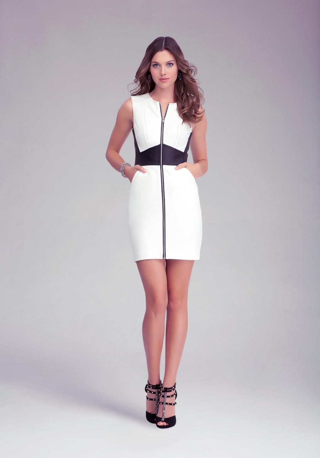 Lyst Bebe Zipper Front Leather Waist Dress In Black