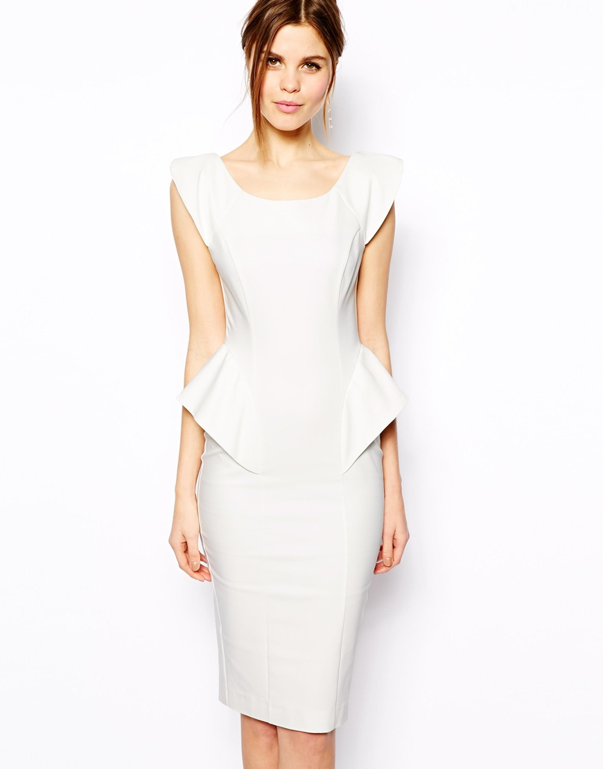 Asos Pencil Dress With Structured Peplum in White | Lyst