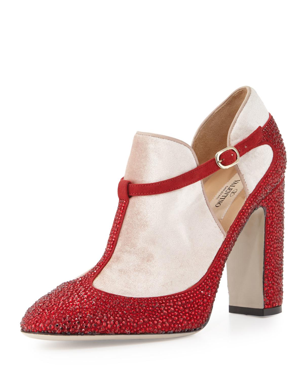 Lyst Valentino Crystal Velvet T Strap Block Heel Pump