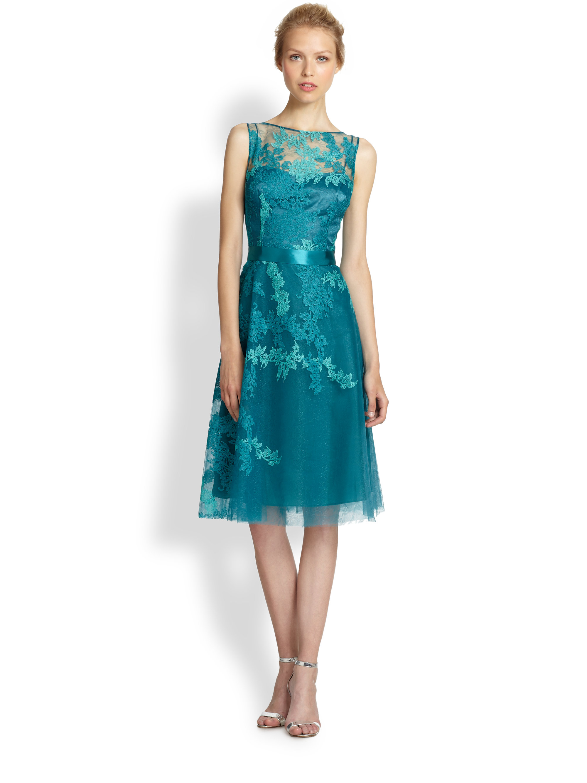 Teri jon Rose Embroidered Tulle Cocktail Dress in Blue | Lyst