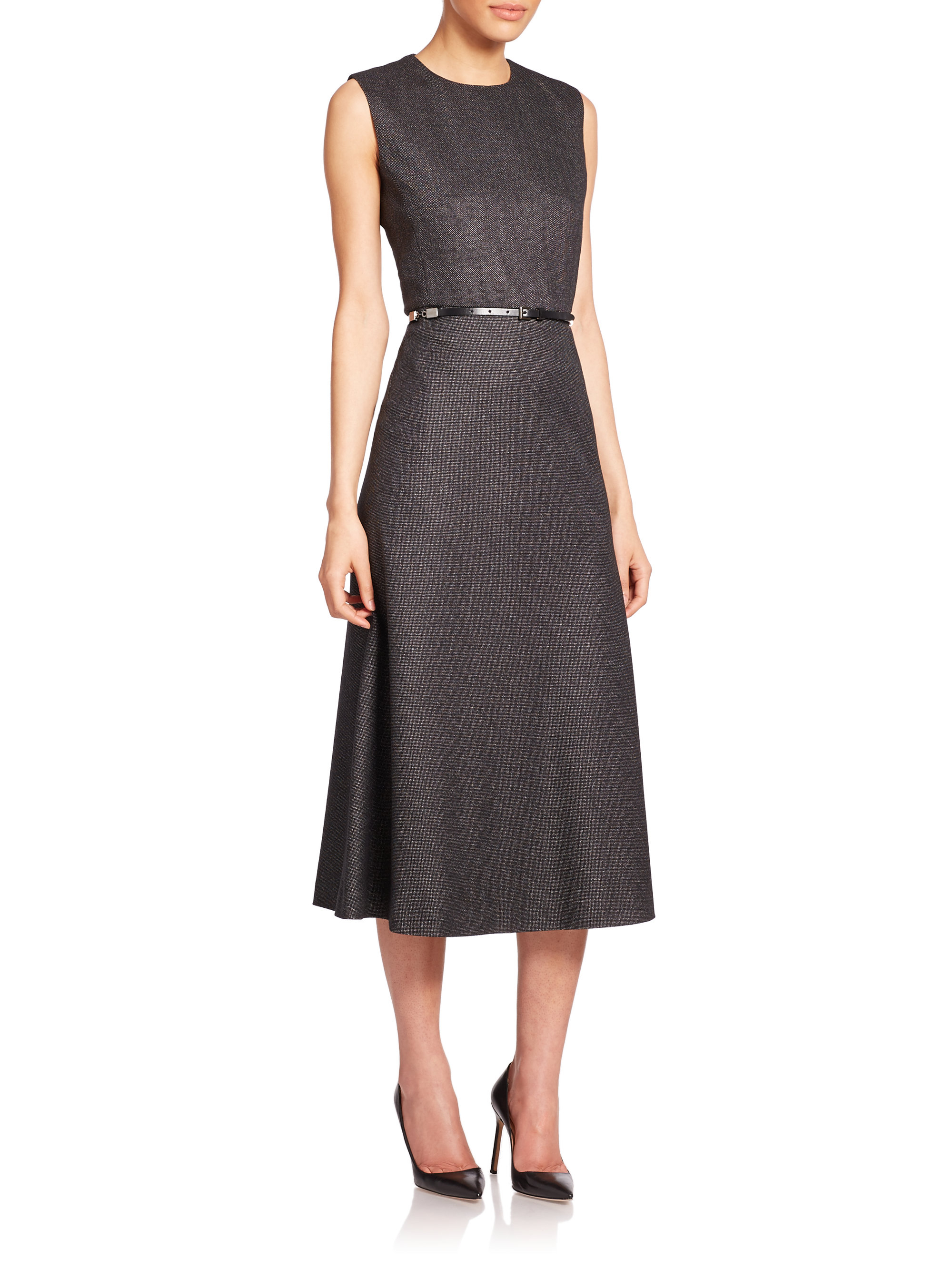 Lyst Max Mara Agi Belted Silk Wool Dress In Gray