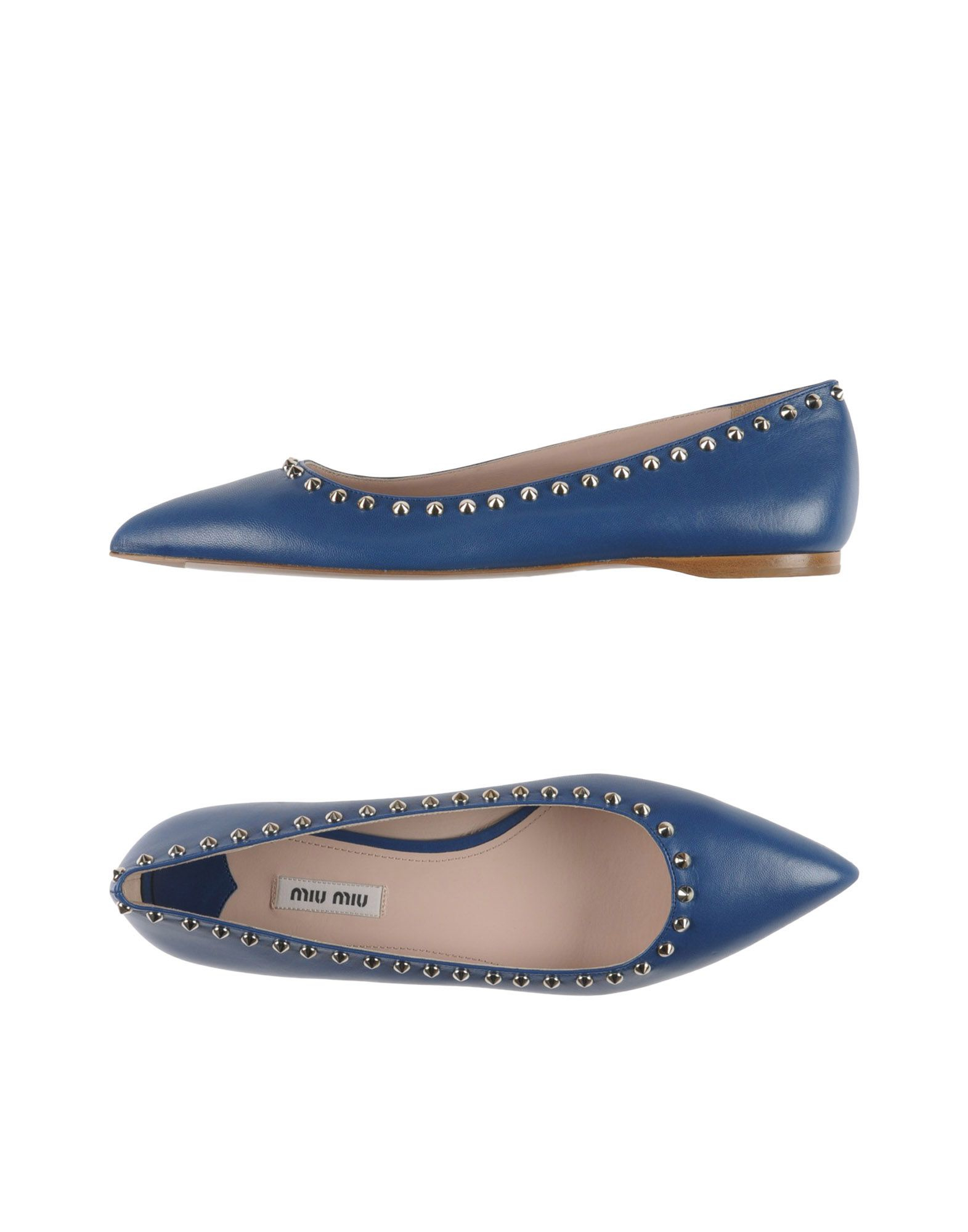 miu miu studded leather ballet flats in blue lyst. Black Bedroom Furniture Sets. Home Design Ideas