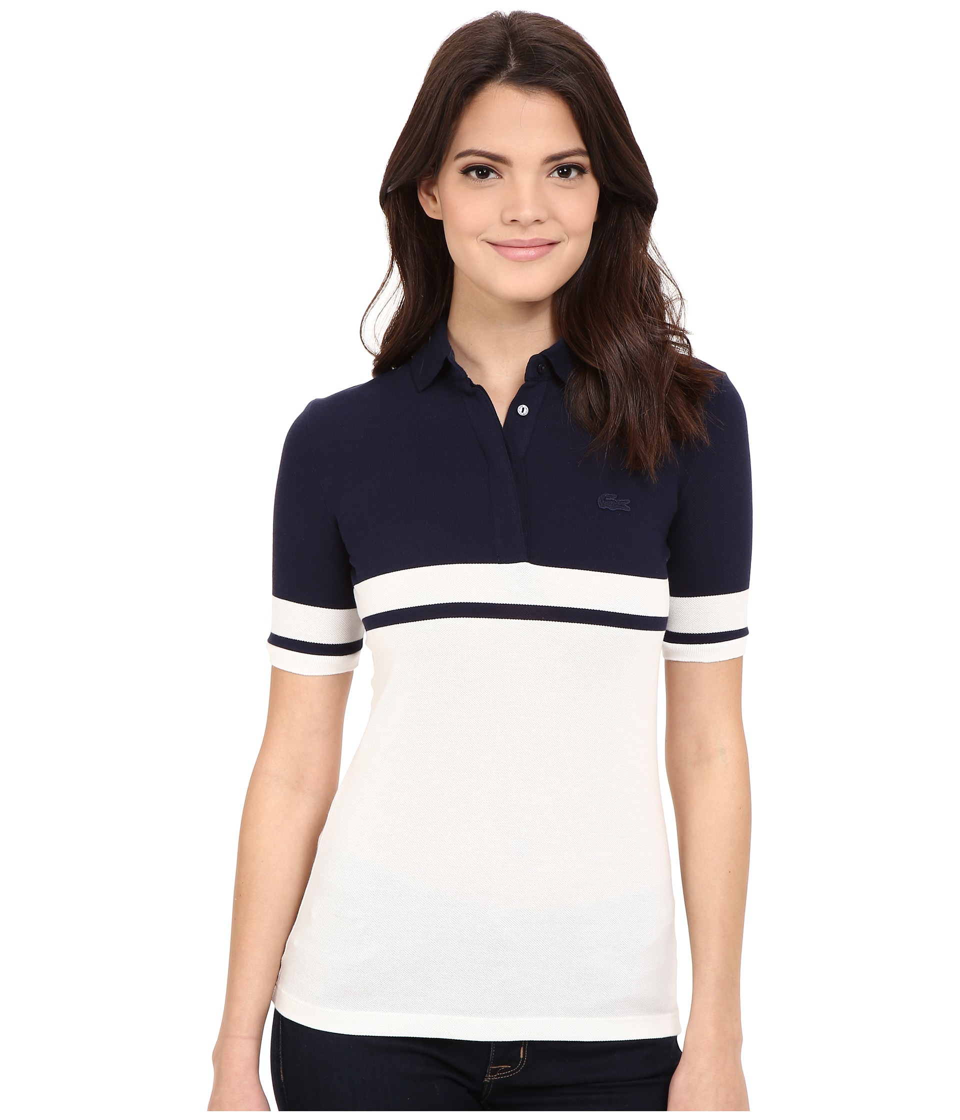 Lacoste Half Sleeve Color Block Polo Shirt in Blue | Lyst