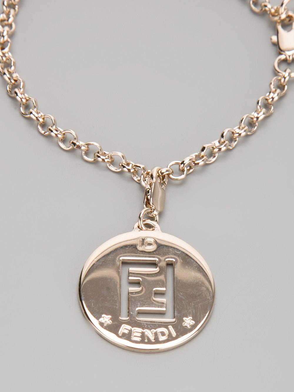 fendi charm bracelet in gold metallic lyst