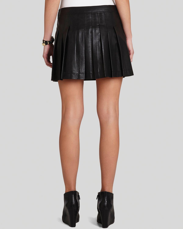 Bcbgmaxazria Mini Skirt Shane Pleated Faux Leather in Black | Lyst