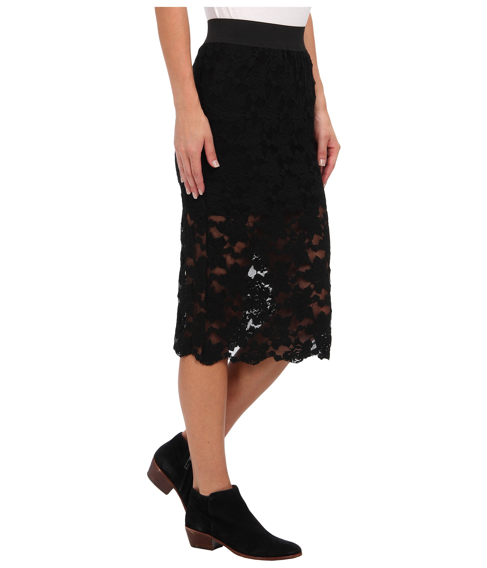 free lace pencil skirt in black lyst